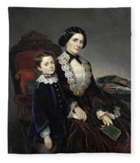 Portrait Of Mother And Son Fleece Blanket