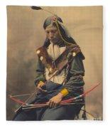 Portrait Of Oglala Sioux Council Chief Bone Necklace Fleece Blanket