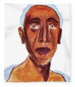 Portrait Of Old Man Fleece Blanket