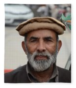Portrait Of Pathan Tuk Tuk Rickshaw Driver Peshawar Pakistan Fleece Blanket