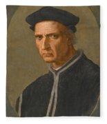 Portrait Of Piero Soderini Half Length Wearing A Black Coat And A Black Hat Fleece Blanket