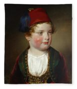 Portrait Of Prince Victor Odescalchi  In Greek Costume At The Age Of Five Fleece Blanket