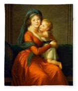 Portrait Of Princess Alexandra Golitsyna And Her Son Piotr Fleece Blanket