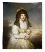 Portrait Of Queen Charlotte Three-quarter Length In A White Dress A Yellow Shawl And Black Mantilla Holding A Maltese Dog Sir Henry William Beechey Fleece Blanket