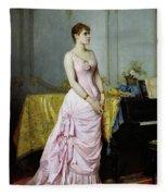 Portrait Of Rose Caron Fleece Blanket