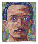 Portrait Of Salvador Dali Fleece Blanket