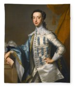 Portrait Of Sir James Lowther 1st Earl Of Lonsdale Three Quarter Length Holding A Mask In His Right  Fleece Blanket