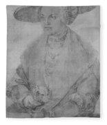 Portrait Of Susanne Von Brandenburg Ansbach Fleece Blanket