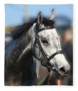 Portrait Of The Grey Race Horse Fleece Blanket