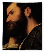 Portrait Of The Poet Pietro Aretino Fleece Blanket