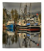 Portrait Of The Ucluelet Trawlers Fleece Blanket