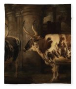 Portrait Of Two Oxen - The Property Of The Earl Of Powis Fleece Blanket