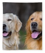 Portrait Of Two Young Beauty Dogs Fleece Blanket