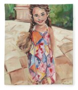Portrait Painting Fleece Blanket