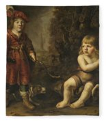 Portraits Of Two Boys In A Landscape One Dressed As A Hunter The Other St As John The Baptist Fleece Blanket