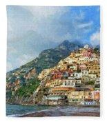 Positano Beach View Painting Fleece Blanket