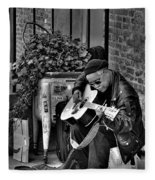 Post Alley Musician In Black And White Fleece Blanket