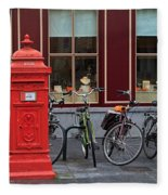 Postbox And Bicycles In Front Of The Diamond Museum In Bruges Fleece Blanket