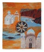 Postcard From Santorini Fleece Blanket