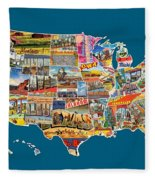 Postcards Of The United States Vintage Usa All 50 States Map Fleece Blanket