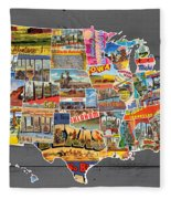Postcards Of The United States Vintage Usa Map On Gray Wood Background Fleece Blanket