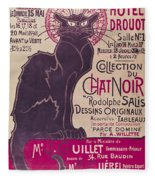 Poster Advertising An Exhibition Of The Collection Du Chat Noir Cabaret Fleece Blanket