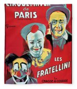 Poster Advertising The Fratellini Clowns Fleece Blanket