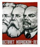 Poster Depicting Karl Marx Friedrich Engels And Lenin Fleece Blanket