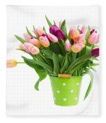 Pot Of Pink And Violet Tulips Fleece Blanket