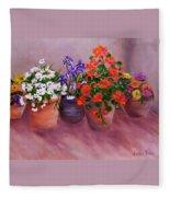 Pots Of Flowers Fleece Blanket