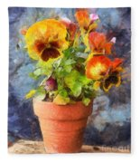 Potted Pansy Pencil Fleece Blanket