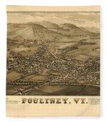 Poultney Vermont Map Vintage Fleece Blanket