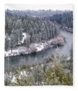 Powdered Spokane River Fleece Blanket