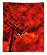 Power Line - Asphalt - Water Puddle Abstract Reflection 02 Fleece Blanket