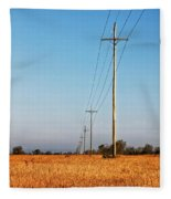 Power Lines At Sunrise Fleece Blanket