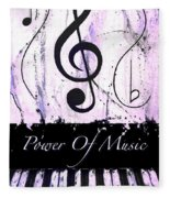 Power Of Music Purple Fleece Blanket