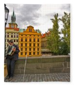 Prague Accordian Player On Charles Bridge Fleece Blanket