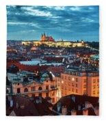 Prague At Night Fleece Blanket