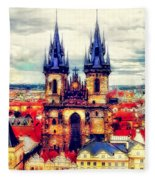 Prague Church Of Our Lady Before Tyn Watercolor Fleece Blanket