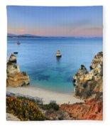 Praia Do Camilo At Sunset  Fleece Blanket