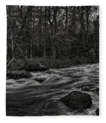 Prairie River Whitewater Black And White Fleece Blanket