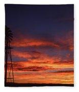 Prairie Sunset With Windmill Fleece Blanket