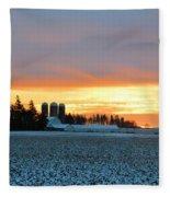 Prairie Winter Sunrise Fleece Blanket