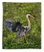 Prancing Heron Fleece Blanket
