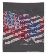 Preamble To The Constitution On Us Map Fleece Blanket