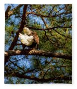 Preening Bald Eagle Fleece Blanket