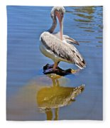 Preening Pelican Fleece Blanket