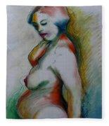Pregnant Nude Fleece Blanket
