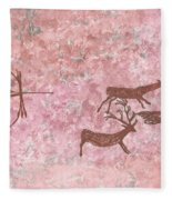 Prehistoric Hunter Fleece Blanket