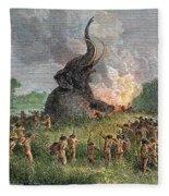 Prehistoric Mammoth Hunt Fleece Blanket
